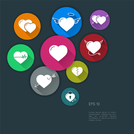 masculine: Flat design modern illustration of hearts icons. With Long Shadow