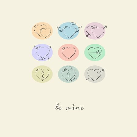 mine: Be mine. Doodle hearts icon .  Illustration