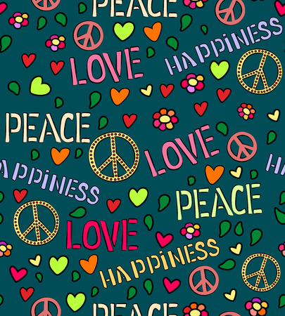 peace treaty: Seamless pattern with symbols of the hippie. Text peace, love, happiness. Vector background. Illustration