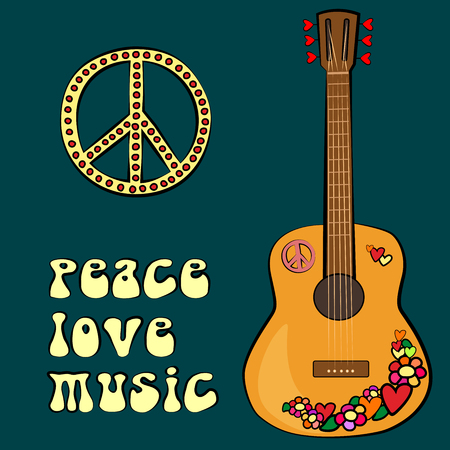 woodstock: PEACE LOVE MUSIC text design with peace symbol and guitar. vector illustration. Illustration