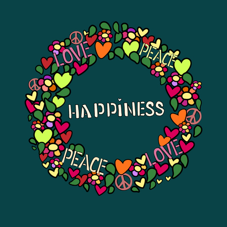 peace treaty: Text happiness in round frame. Love, peace and pacifism symbol in colorfull collage. Vector illustratoin.