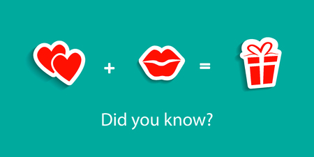 know: Gift box, present. Love formula of symbolic signs. Text Did you know. Hearts, Lips Kiss. Vector illustration Illustration