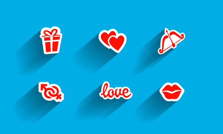 Symbols Of Love Simple Icons Set Of Sticker With Long Shadow