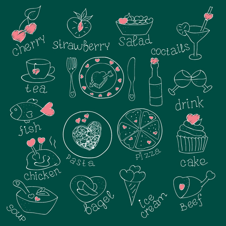 pareja comiendo: Conjunto de alimentos con los corazones. El amor romántico. Para invitaciones tarjetas. Día de San Valentín, boda. Doodle dibujado a mano. Ilustración del vector de la vendimia. pizarra Vectores