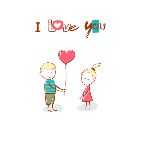you figure: Valentines Day. Boy gives the girl a balloon heart. Text I Love You. Hand drawn card. Vector illustration.