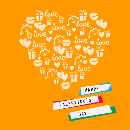 Happy Valentines Day Card Heart With Symbols Of Love Vector