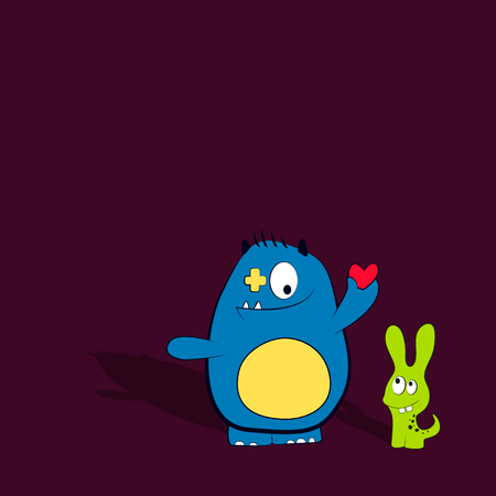 cartoon friends: Cartoon cute monsters with heart. Friendly monster. Best friends. Vector illustration Illustration