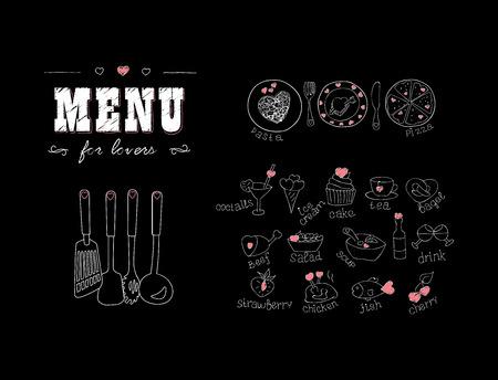Menú para los amantes. Los alimentos con corazones. Feliz día de San Valentín. Doodle Elementos de decoración. Dibujado a mano. Pizarra. ilustración vectorial