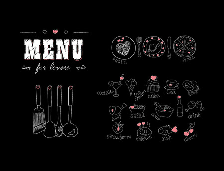 Menu for lovers. Foods with hearts. Happy Valentines day. Doodle Decor elements. Hand drawn. Chalkboard. Vector illustration Illustration