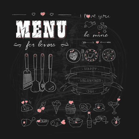animal lover: Happy Valentines day. Menu for lovers. Foods with hearts. Doodle decor elements. Hand drawn. Chalkboard. Illustration