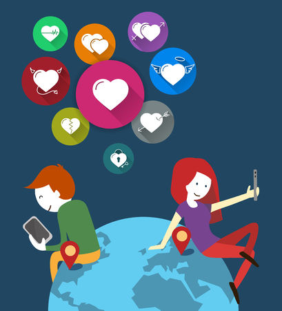 dating: Online Dating. couple in the world of mobile phones. Icons hearts set. Flat design.