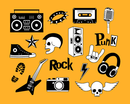 heavy metal: Punk rock music  set isolated on yellow background. Design elements, emblems, badges, logo and icons.  Vector illustration.