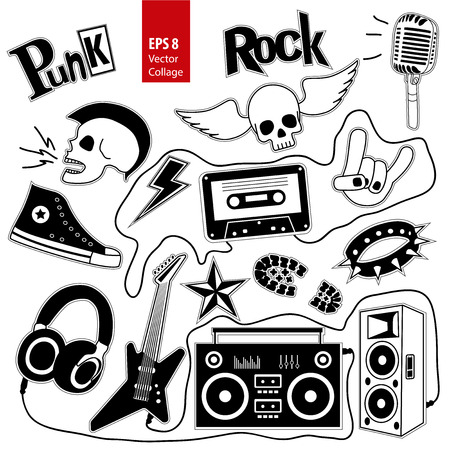Punk rock music set isolated on white background. Design elements, emblems, badges, logo and icons, collage. Vector illustration.