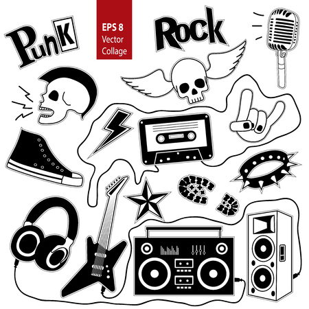 heavy metal: Punk rock music isolated on whete background set. Design elements, emblems, badges, logo and icons. Vector background.