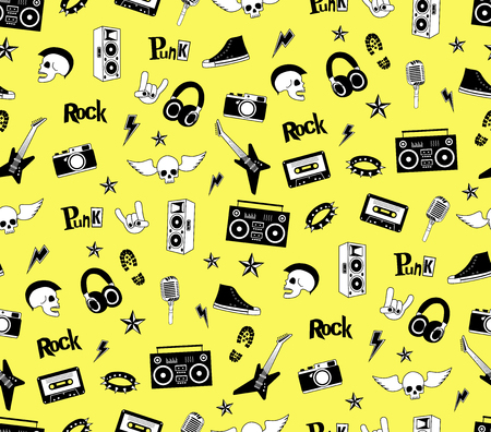 punk rock: Seamless pattern. Punk rock music isolated on yellow background. Doodle style elements, emblems, badges, and icons.
