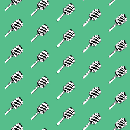 Seamless pattern. Vintage microphone background textures, hand drawn doodle style.