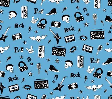 punk rock: Seamless pattern. Punk rock music isolated on blue background. Doodle style elements, emblems, badges, and icons.