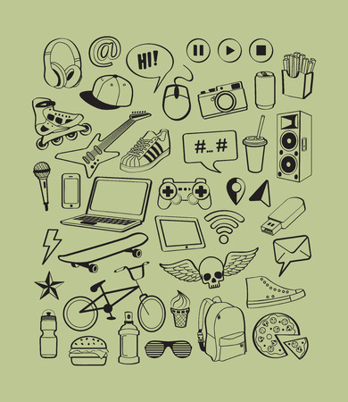 teenagers having fun: Teenagers having fun. Set of dream and thought of teenage boy.Boy teens life. lettering and doodles elements background for design thinking idea with cool, sports, music, multimedia, delicious, shoes icons. illustration Illustration