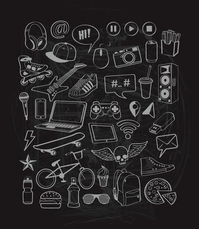 pieds sales: Doodles fixés pour les adolescents sur fond tableau. éléments de Doodles icônes pour la conception de la pensée des idées avec cool, sports, musique, multimédia, délicieux, chaussures, tinagers de style. illustration