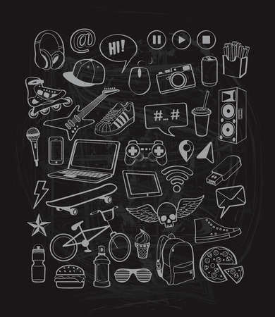 Doodles set for teenagers on chalkboard background.  Doodles elements icons for design thinking ideas with cool, sports, music, multimedia, delicious, shoes, tinagers style. illustration