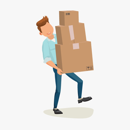 artoon: Delivery man, delivery service. Delivery box. Delivery boy. Delivering Package. Delivery artoon character with packet. Delivery flat design. Delivery picture. Delivery man box. illustration