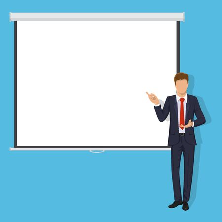 lecture hall: Modern business teacher giving lecture, training, seminar or presentation. Businessman, business standing in front of Blank Projection screen. Modern flat style illustration