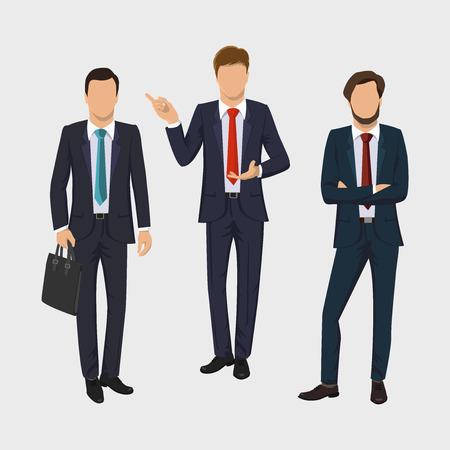 Geschäftsmann gesetzt. Sammlung von Porträts in voller Länge von Geschäftsleuten. Eleganter Geschäftsmann auf weißem Hintergrund. Im Business-Meeting-Konzept. Flaches Design. Illustration.