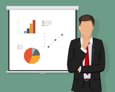 Pomyślne biznesmen pewność myślenia o decyzjach, stały z przodu projektora Ekran pełen wykres kołowy wykresów i koncepcji obliczeń. Ilustracji wektorowych