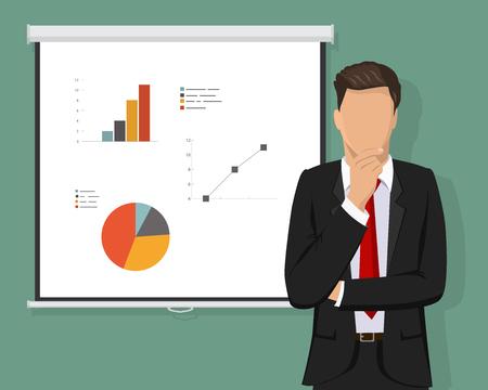 Un homme d'affaires confiant et réussi à réfléchir aux décisions, en face de l'écran du projecteur plein avec graphique graphique et concept de calcul. Illustration vectorielle