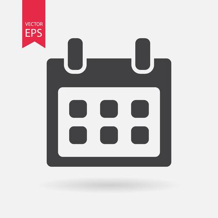 Kalender vector pictogram. Kalender klok logo platte ontwerpstijl. Geïsoleerd op witte achtergrond Vector illustratie.