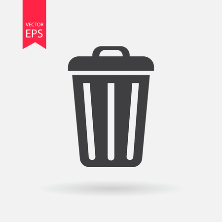 delete icon: Trash bin or delete icon. Trash bin logo flat design style. Delete vector icon. Trash bin Isolated on white background. Vector illustration