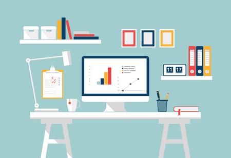 #57231782   Home Office Interior. Stilvolle Arbeitsplatz Auf Zu Hause Oder  Im Studio. Vector Wohnung Design Der Modernen Home Office Interieur Mit ...