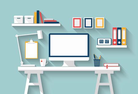Lege monitor of computer desktop met lamp, agenda, boeken, frames en andere accessoires op witte tafel in een zonnige kamer. Mock-up. Thuiskantoor. Vector Flat ontwerp met lange schaduw. stijlvolle interieur