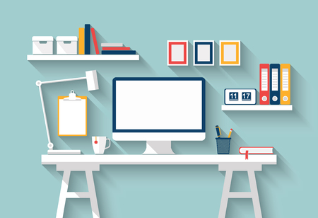 Blank monitor or computer desktop with lamp, diary, books, frames and other accessories on white table in sunny room. Mock up. Home office. Vector Flat design with long shadow. Stylish interior