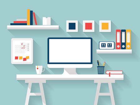office tools: Blank monitor or computer desktop with office tools, diary, books, frames and other accessories on white table in sunny room. Mock up. Home office, Stylish interior Vector Flat design with long shadow