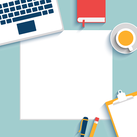 set up: Set of Flat vector design illustration of modern business office and workspace. Blank paper, mock up. Top view of desk background with laptop, cup, office objects. All objects under mask