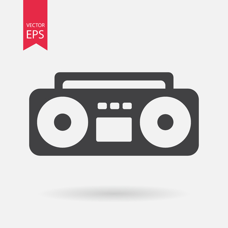 ghetto blaster: Boom Box Icon Vector. Boom Box sign isolated on white background. Boom Box silhouette. Ghetto blaster icon. Vector Flat design