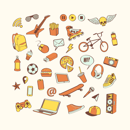 Doodle icon set. Colored hand drawn collection of doodle elements for design. Set for boy or teenager. Sport, food, music, multimedia