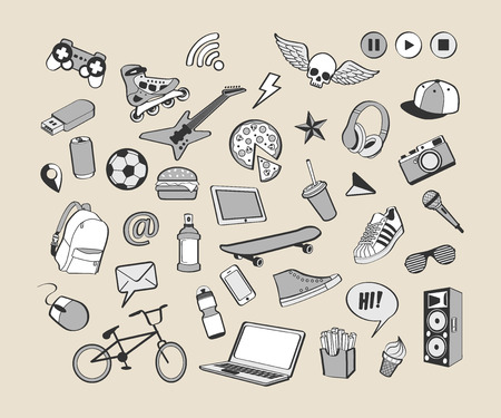 Doodle icon set. Monochrome hand drawn collection of doodle elements for design. Set for boy or teenager. Sport, food, music, multimedia