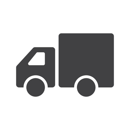 white van: Truck Icon . Flat design. Truck sign isolated on white background