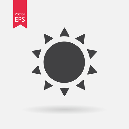 Sun Icon . Flat design. Sun sign isolated on white background
