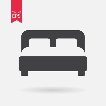 double rooms: Bed Icon . Flat design. Bed sign isolated on white background