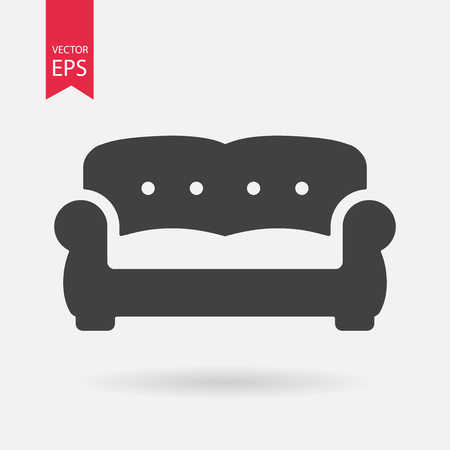 Sofa Icon Vector. Flat design. Simple sign isolated on white background Vector Illustration