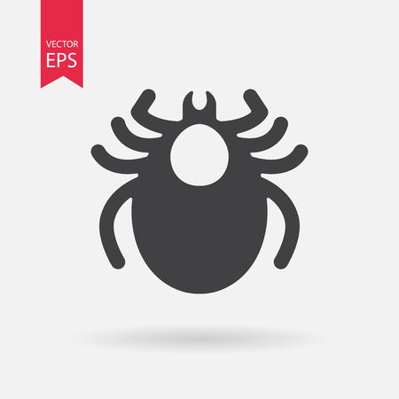 acarid: Mite icon vector. Encephalitis tick sign isolated on white background. Flat design. Vector illustration