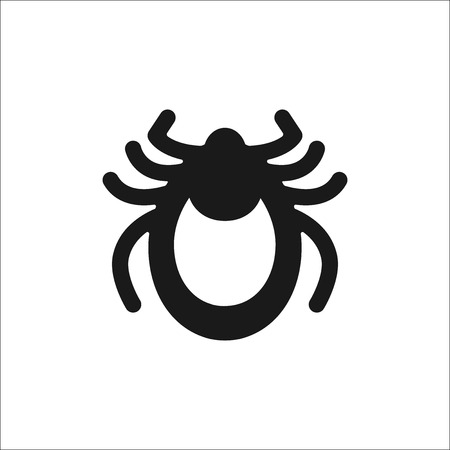 tick icon: Encephalitis tick icon vector. Mite sign isolated on white background. Flat design. Vector illustration