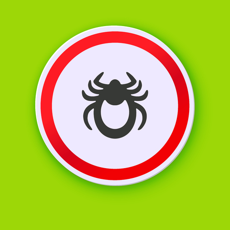 entomologist: Ticks stop sign. Mite warning sign. Vector illustration of tick warning sign on green background. Encephalitis mite skin parasite isolated on white. Flat design with shadow