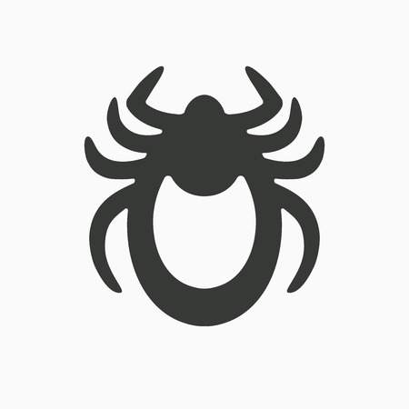 tick icon: Tick icon vector. Mite sign isolated on white background. Encephalitis mite skin parasite silhouette. Flat design. Vector illustration