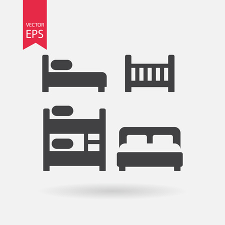 double bed: Bed icons set. Collection of of different black silhouette beds. Cribe, Double bed, Bunk Bed, Loft bed. Black Signs Isolated on white on background. Flat vector elements for you design, web, hotel or hostel