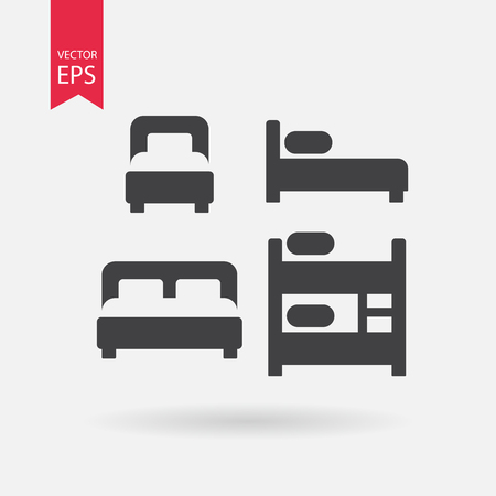 hostel: Bed icons set. Collection of of different silhouette beds. Double bed, Bunk Bed, Loft bed. Black Signs Isolated on white on background. Flat design vector elements for you design, web, hotel or hostel