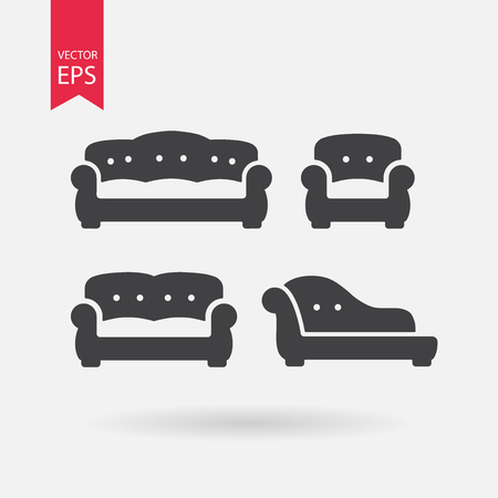 chesterfield: Furniture icons set. Vintage Sofa, Armchair, Chesterfield, Couch. Collection of retro armchair in flat design. Black silhouettes isolated on white background. Vector elements